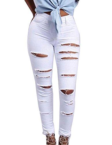 Jean Skinny Taille Haute Femme Couleur Unie Trous Dchir Extensible Jeans Blanc