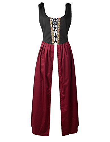 Renaissance Medieval Pirate Peasant Costume Two-Toned Irish Over Dress Fitted Bodice (M, Black/Burgundy)