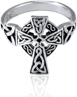 925 Oxidized Sterling Silver Antique Celtic Irish Cross Ring - Nickle Free