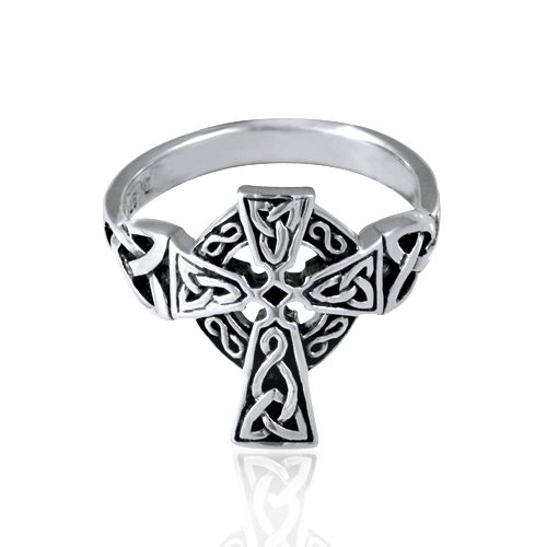 Chuvora .925 Sterling Silver Oxidized Antique Celtic Irish Cross Pewter Ring Size 6 - Nickle Free ()