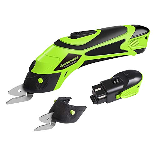 Electric Scissor, Hawkforce 4V Li-Ion Rechargeable Battery Cordless Power Scissors Box Cutter Shears Cutting Tool with 2 PCS Cutting Blades and 2 PCS Batteries for Cutting Fabric, Leather and Carpet
