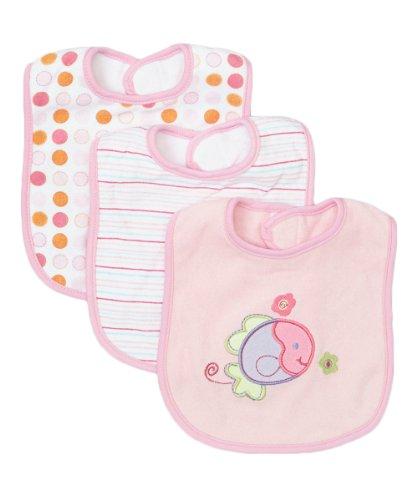Spasilk Baby-Girls Newborn 3 Pack Feeder Bibs, Pink Fish ()