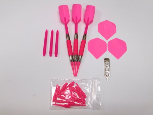 Super Neon Hot Pink 16 Gram Sure Grip Dart Set & Neon Hot Pink Accessory Kit - Dart Brokers