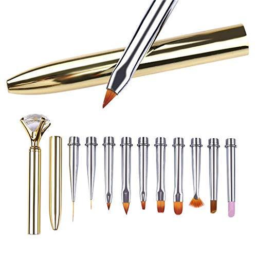 Best Quality - Nail Brushes - 10Pcs UV Gel Nail Art Pen Brush Metal Replaceable Head Carving Cuticle Remover Flat Line Flower Drawing Painting Tool - by Florence_Xavia - 1 PCs