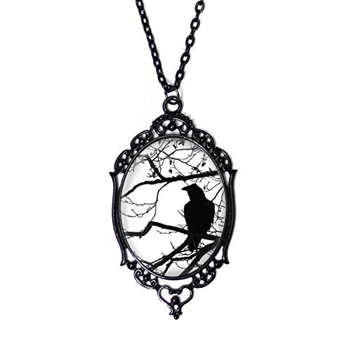 Project Pinup Black & White Raven in Tree 30x40mm Black Cameo Filigree Necklace with 18