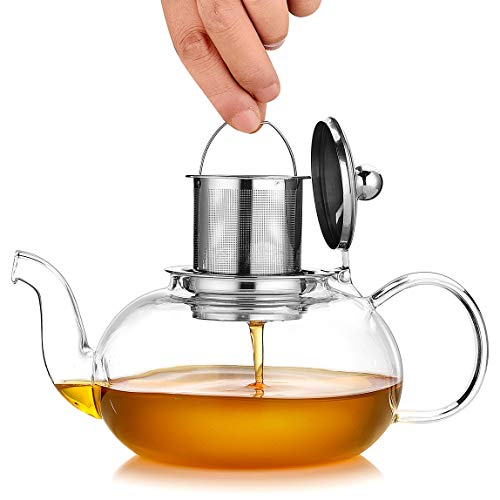 Black Glass Tea Pots - Artcome 1000ml / 34oz Glass Teapot with Removable Infuser, Stovetop Safe Teapot, Blooming and Loose Leaf Tea Pots
