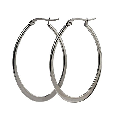 Stainless Steel Click-Top Oval Hoop Earrings (47.7mm x 29.8mm) by Gintan