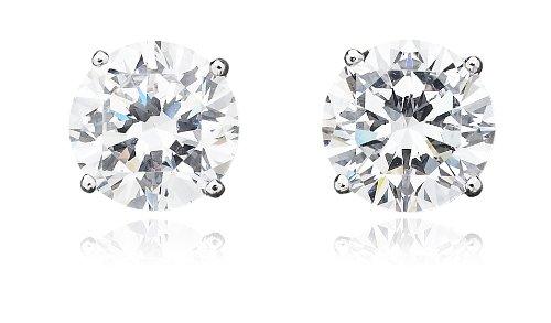 Crislu 6 carat Round Stud Earrings * Sterling CZ New