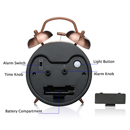 Peakeep 4 inches Twin Bell Loud Alarm Clock for Heavy Sleepers (Red-Brown)