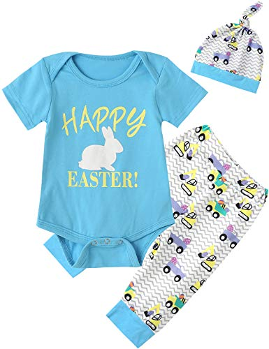 Happy Easter Outfit Set Baby Boys' Cute Bunny Creeper Romper Pants with Hat (Blue02, 6-12 ()