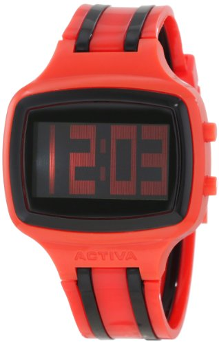 Activa By Invicta Unisex AA400-007 Black Digital Dial Red and Black Polyurethane Watch