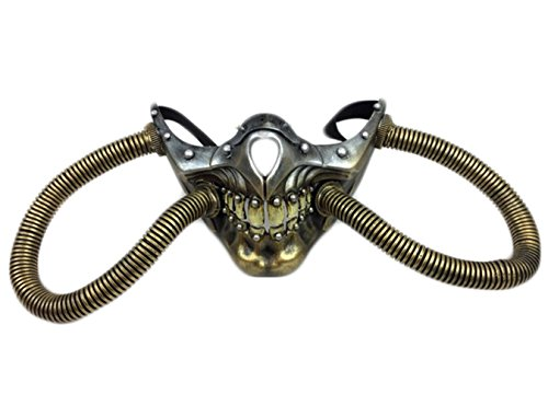 Skull Steampunk Post-Apocalyptic Costume Face Half Mask w Tubes, Gold, One Size (Apocalyptic Costumes)