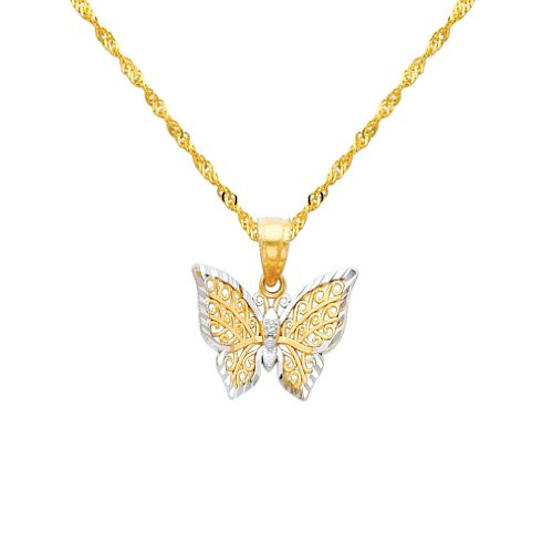 14k Two Tone Charms - Wellingsale 14k Two 2 Tone Gold Polished Butterfly Charm Pendant with 1.2mm Singapore Chain Necklace - 18
