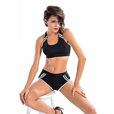 Women Workout Bikini Set Sport Bra Racerback Boyshort Two Piece Swimsuit Bathing Suits Sets