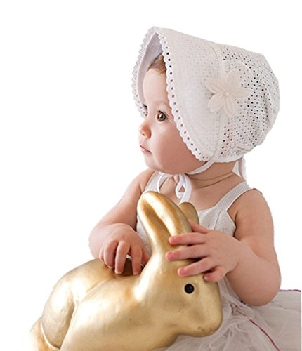 Bigface Up Little Kids Toddlers Eyelet Lace Breathable Bonnet with Flower Hat(White) (Best Easter Bonnets Ever)