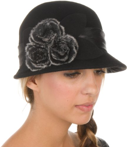 Faux Fur Cloche - Sakkas 7841LC Sadie Faux Fur Vintage Style Wool Cloche Bucket Bell Hat - Black - One Size