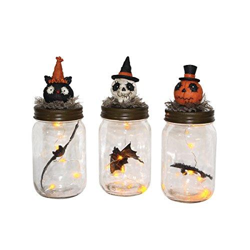 Halloween Spooky LED Mason Jar Ornaments, 8-in., Assorted 3]()