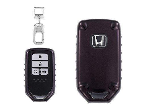 QBUC Smart Car Key case with Keychain and Cover Replacement Kit for Honda (Black) by QBUC