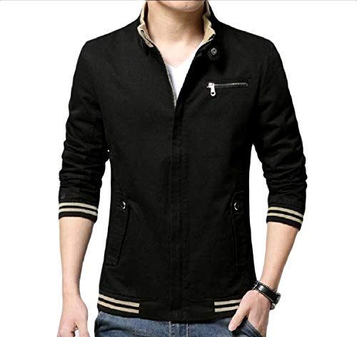 Mens Size Plus Black Basic Long RkBaoye Zip Fit Slim Sleeve Coat Jacket Relaxed dqEA5xn