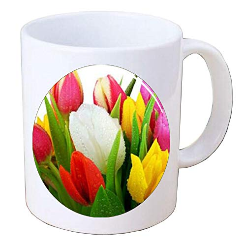 Colorful World Tulip Bouquet Handcrafted Coffee Mug Mug,tulip charm,flower charm,flower Coffee Mug,BV172