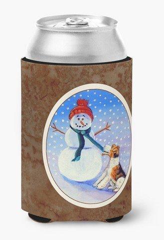 Snowman Bottle Hugger - Caroline's Treasures 7156CC Snowman With Fox Terrier Can Or Bottle Hugger, Multicolor