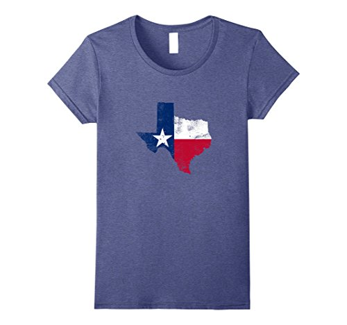 Womens State of Texas Flag T-Shirt Distressed Texas Flag T Shirt XL Heather - Women Lubbock In