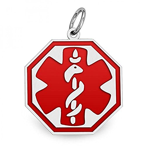 Sterling Silver Octagon Medical ID Charm or Pendant W/Red Enamel - 1/2 Inch X 1/2 Inch WITH ENGRAVING