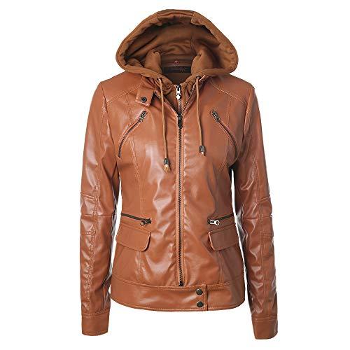 Women's Caps Leather Zipper Long Jacket Women's Brown Lapel Leather Hooded Slim Sleeve Outwear Coats Women Jacket Detachable Removable FFwOrq