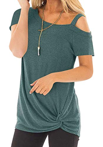 Women's Plus Size T shirt Short Sleeve One Shoulder Side Twist Knotted Tunic Tops Blouse Green 2X