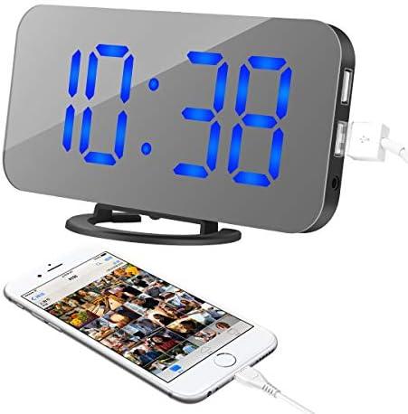 Digital Alarm Clock, LED Digital Clock with 6.5 Large Display Diming Mode, Mirror Surface Clock Adjustable Brightness 2 USB Charging Ports Modern LED Digital Alarm Clock for Bedroom Living Room Dec