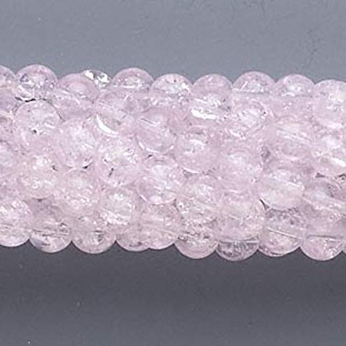 Wholesale 10 Strands Pink Crackle Glass 5-6Mm Round Beads