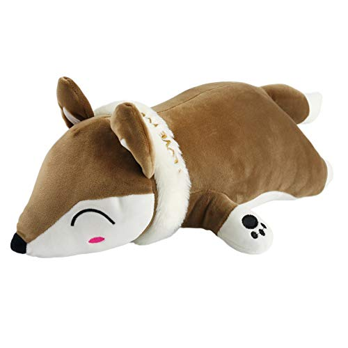 Houwsbaby Squeezable Fox Stuffed Animals Lying Soft Toy Plush Pillow Pad Gift, 20'' (Brown)