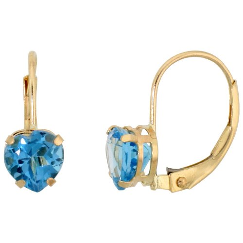 6mm Heart Blue Topaz Earring - 10k Yellow Gold Natural Blue Topaz Leverback Earrings 6mm Heart Shape 1.5 ct, 9/16 inch