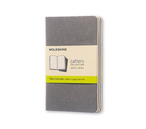 Moleskine Cahier Journal (Set of 3), Pocket, Plain, Pebble Grey, Soft Cover (3.5 x 5.5)