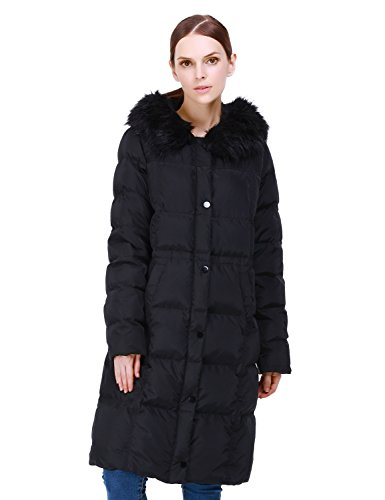 Puredown Women's Long Goose Down Coat with Faux-Fur Trim Hooded Jacket, Black, Small - Trim Hooded Down Coat