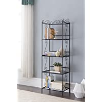 Black Metal 4-tier Free Standing Bakers Rack Dining, Laundry Room Bookcase Bookshelf Organizer 70H