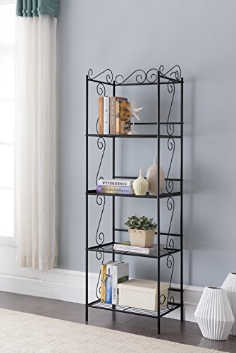 Black Metal 4-tier Free Standing Bakers Rack Dining, Laundry Room Bookcase Bookshelf Organizer 70