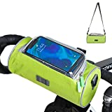 Adjustable and Removable Shoulder strap Waterproof Bicycle Handlebar Bag with Transparent Pouch Touch Screen, Large-Capacity Front Pack for Road Bikes, Mountain Bikes and Motorcycles (Green 'L' size)