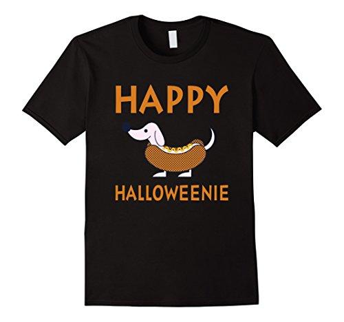 Costumes Dachshund Funny (Mens Happy Halloweenie - Funny Dachshund Weenie Dog Halloween Tee Large)
