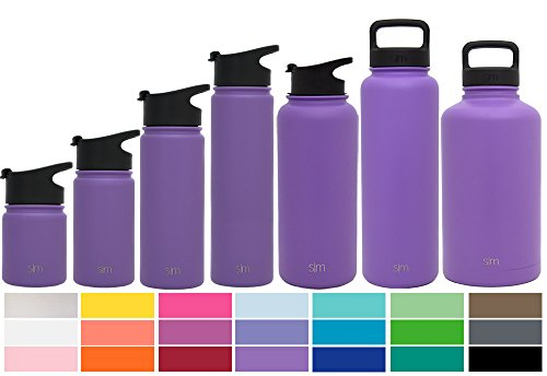 Simple Modern 40 oz Summit Water Bottle - Stainless Steel Hydro Metal Flask +2 Lids - Wide Mouth Double Wall Vacuum Insulated Purple Reusable Large 1.5 Liter Cold Leakproof Thermos - Lilac