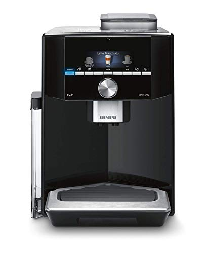 Siemens EQ.9 Super Automatic Espresso Machine with Built-in Milk Frother, 3,5' Color Display, 78 oz Water Tank and 6 User Profiles, Black, TI903209RW