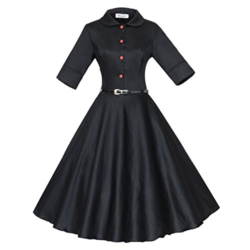 3 Sleeve 1950S Vintage s Dress Tang Women Maggie Black 4 Rockabilly X1YqtZnx