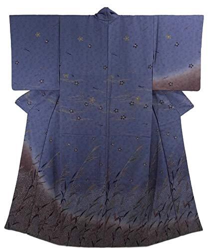 アンティーク 着物  水辺の風景 葦に桜と松葉 裄61.5cm 身丈156cm 正絹 袷