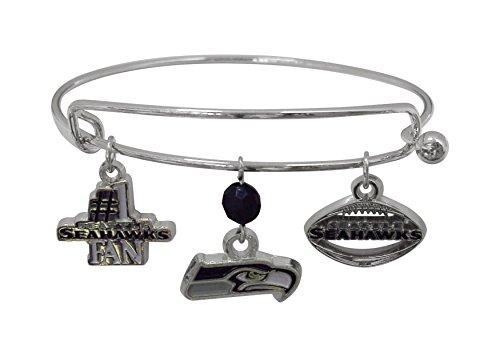 Charm Seattle Seahawks Silver - NFL Seattle Seahawks Three Charm Logo Bracelet