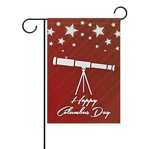 La al azar Happy columbus day decorativa jardín bandera Banner poliéster 12x 18pulgadas