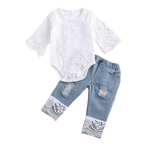 MFQZ Peuter Baby Meisjes Jeans Outfit Wit Kant Lange Mouw Top Denim Lange Broek Kids Meisjes Winter Kleding Set