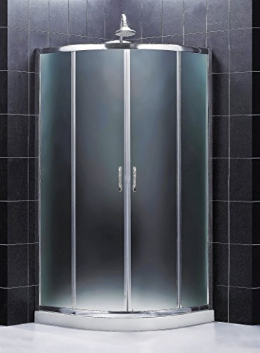 DreamLine Prime 33 in. x 76 3/4 in. Semi-Frameless Frosted Glass Sliding Shower Enclosure in Chrome with White Base and Backwalls, DL-6152-01FR