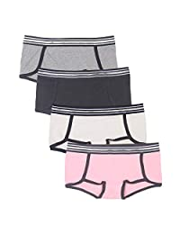 Rokery 4 Pack Women's Cotton Boyshort Panties Soft Comfy Sport Style Underwear