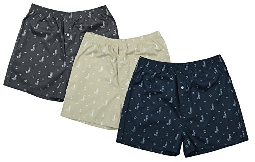 The Cotton Company Men's Cotton Printed Boxer Shorts Medium Grey, Navy & Beige Printed Cotton Boxer