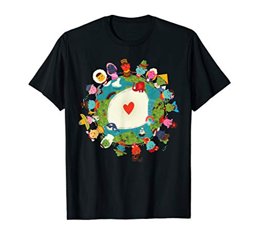 Kids Art Children Love the Planet Earth World Peace Shirt